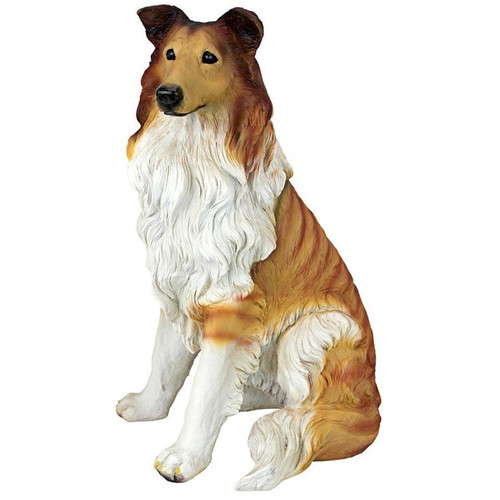 Long-Haired Collie Dog Garden Statue