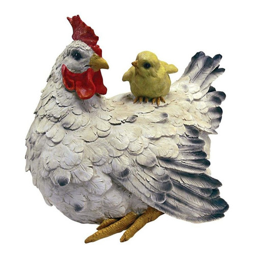 Barnyard Mother Hen and Baby Chick Statue