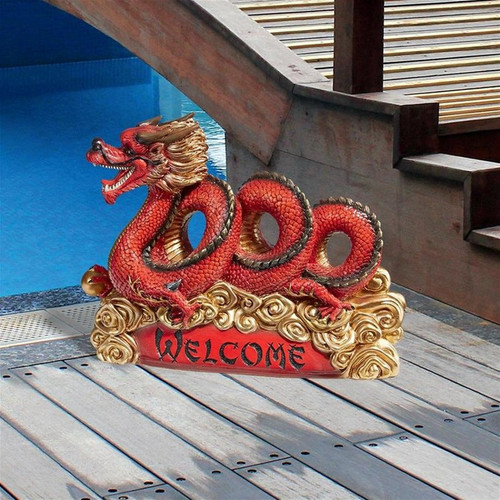Asian Zen Dragon Garden Welcome Statue Garden Sign