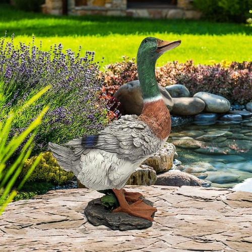 Mallard Duck Statue Next to the Pond