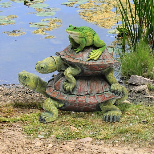 Good Company Frog Turtles Garden Statue Next to the Pond