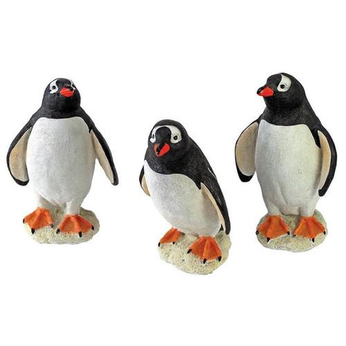 Baby Penguin Triplet Garden Statues