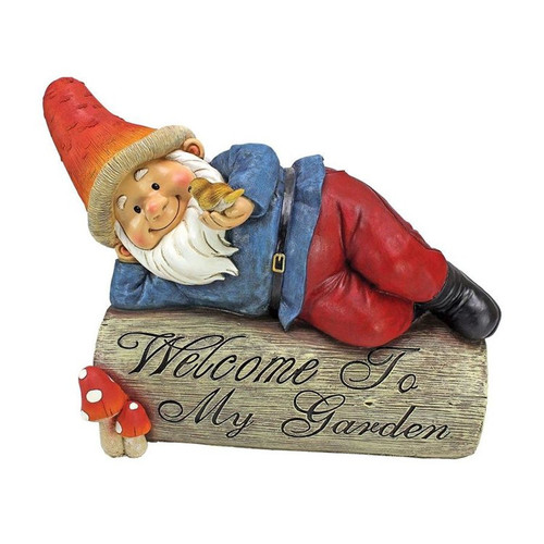 Gideon Gnome Welcome To My Garden Sign Statue