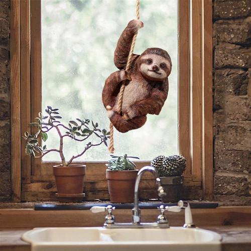 Hanging Horatio 3-Toed Sloth Statue in the Indoor Garden