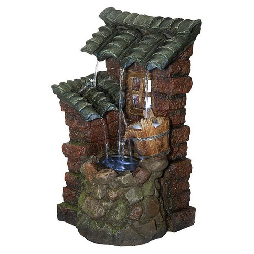 Cottage in the Forest Cascading Waterfall Illuminated Tabletop Water Fountain
