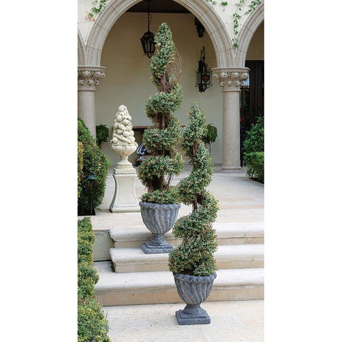 Artificial Spiral Topiary Tree Collection in the Garden