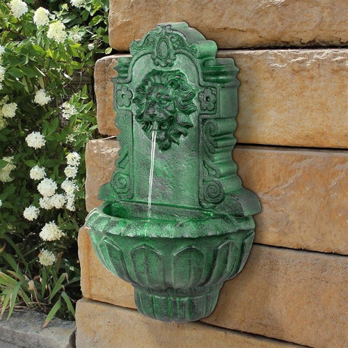 Casa Del Lago Lion Head Wall Niche Sculptural Water Fountain in the Garden