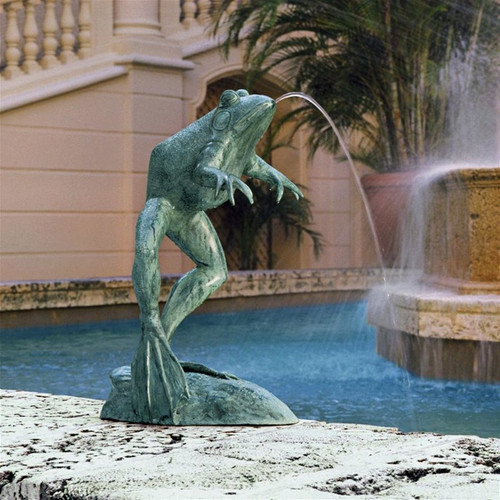Giant Jumping Spitting Frog Bronze Statue Next to Garden Fountain Pond