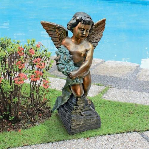 Memorial Angel Bronze Garden Statue in the Garden