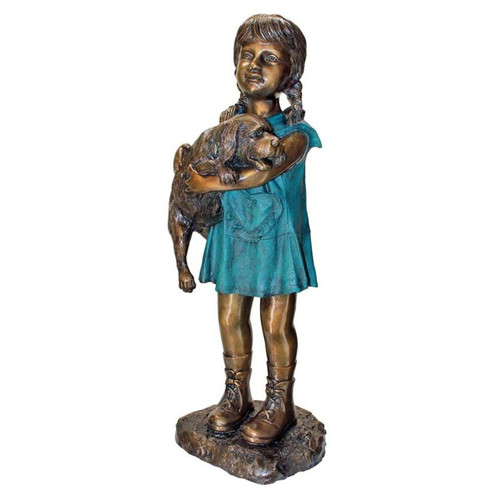 Can I Keep Him Girl and Dog Cast Bronze Garden Statue