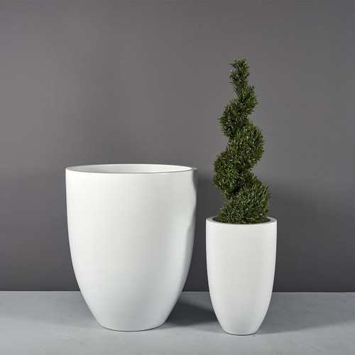 Brannan Tapered Round Planters with plants