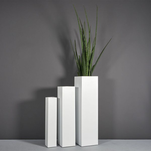 Britz Tall Square Planters with plants