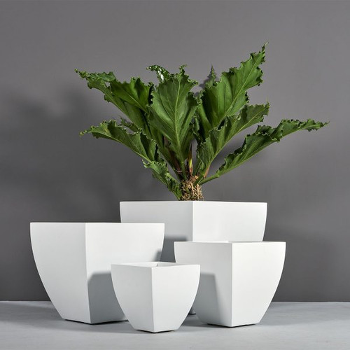 Lima Square Tapered Planters with plants
