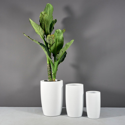 Lisbon Tall Round Tapered Planters with plants