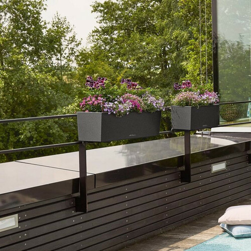 Black Balconera Stone Rectangular Balcony Planters on Metal Railing