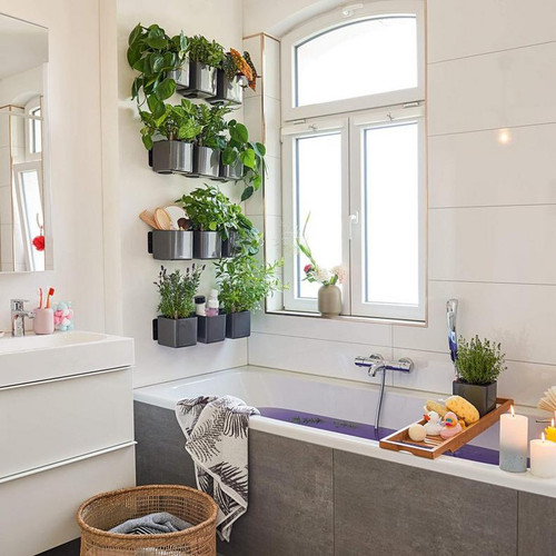 Green Wall Glossy Hanging Planter In the Bathroom Wall