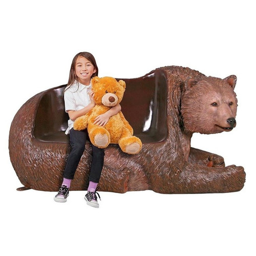 Brawny Grizzly Bear Bench Sculpture With LIttle Girl Sitting on it