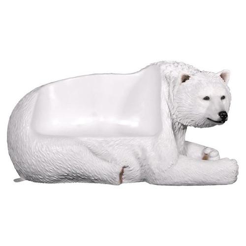 Brawny Polar Bear Bench Sculpture