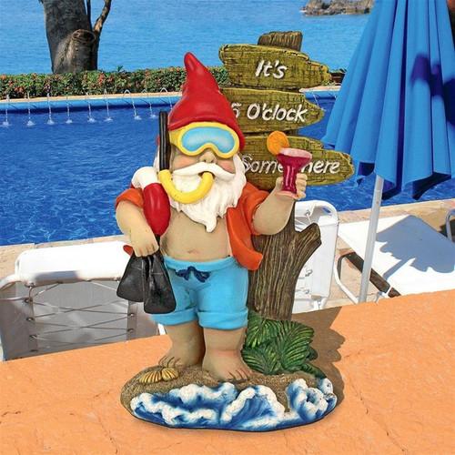 Happy Hour Tropical Garden Gnome Statue Garden Sign