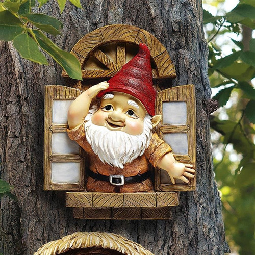 The Knothole Gnomes Window Gnome Tree Sculpture Hanging in the Garden