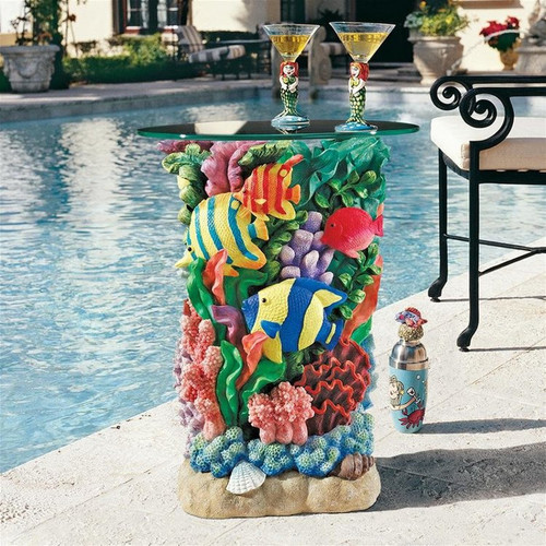 The Great Barrier Reef Glass-Topped Plant Stand With Drinks on Top