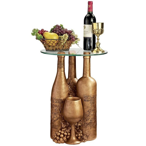 Wine and Dine Sculptural Glass-Topped Plant Stand With Wine Bottle and Fruit