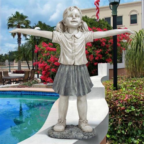 Hope Optimistic Gardener Child Statue Outdoors