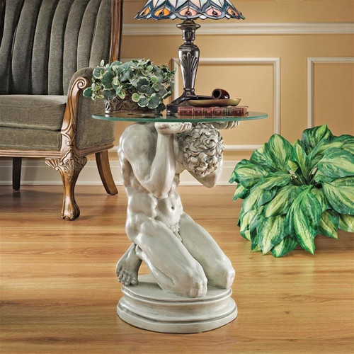 Neoclassical Male Plant Stand WIth Planter and Light on Top
