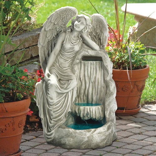 Resting Grace Angel Garden Fountain on the Patio Garden