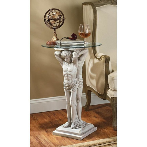 Hermitage Atlantes Glass-Topped Plant Stand in the Living Room