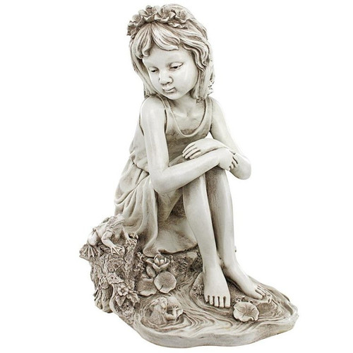 Pausing Pond Little Girl Garden Statue