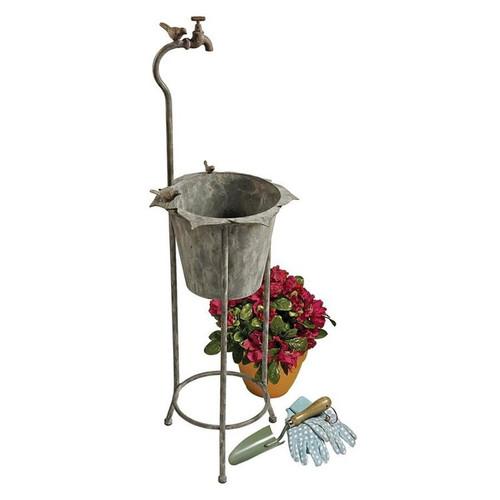 Vintage Faucet Garden Planter With Pot and Decor