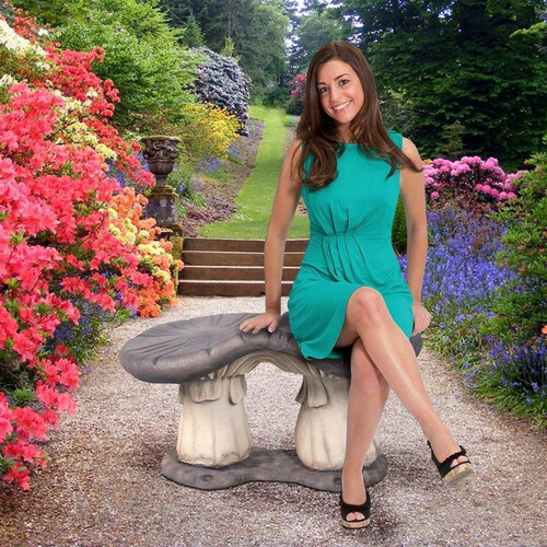 Massive Mystic Mushroom Garden Bench Next To Flowering Shrubs