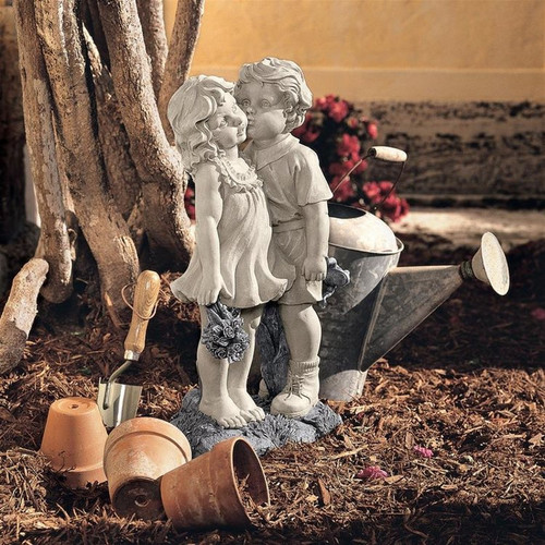 Young Sweethearts Kissing Children Garden Statue in the Garden