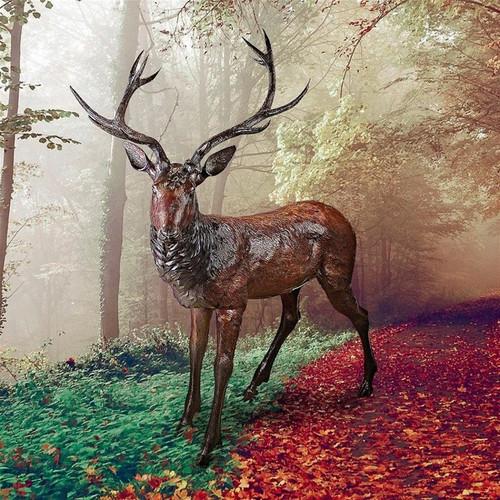 Standing Deer Buck Cast Bronze Garden Statue in the Garden
