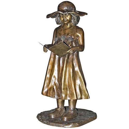 Beulah Sundress Girl Reading Bronze Garden Statue