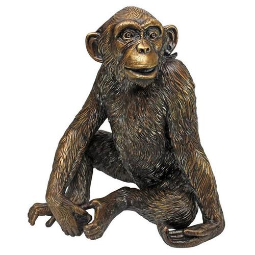 Chatty Chimpanzee Cast Bronze Garden Statue