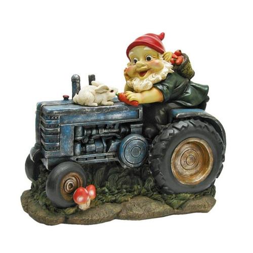Bunny Tractor Garden Gnome Statue