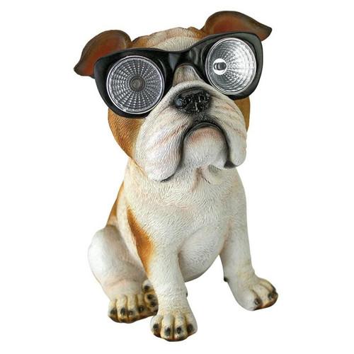 Bright Eyes Solar Pug Dog Garden Statue