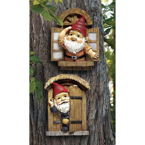 The Knothole Gnomes Garden Welcome Tree Sculpture Set Hanging on the Tree