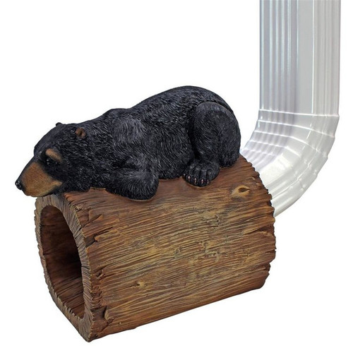 Black Bear Gutter Guardian Decorative Downspout Statue on the Gutter