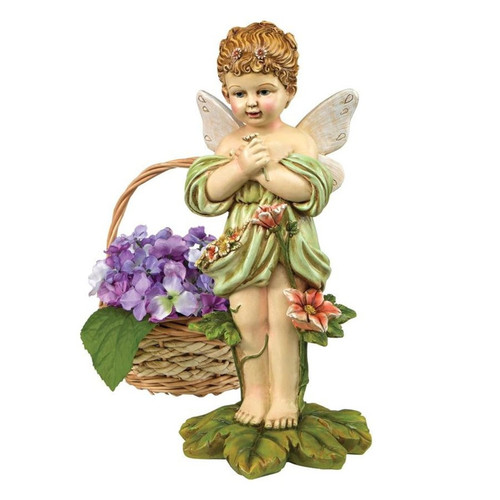 Gertie the English Flower Fairy Statue With Flower Basket