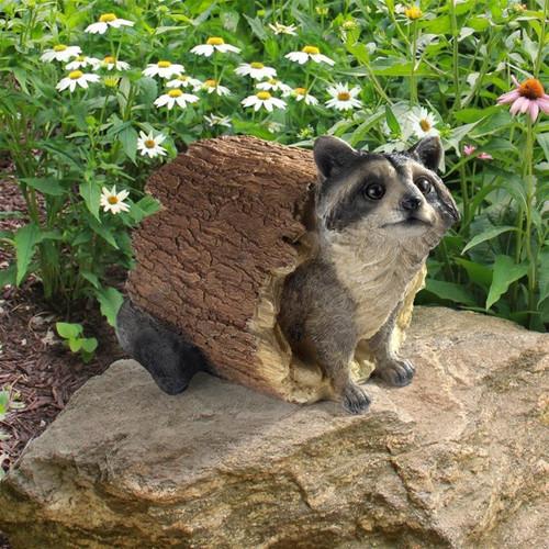 Bandit Raccoon Garden Animal Statue in the Garden