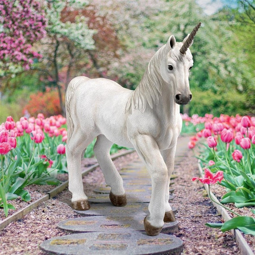 Re em Mystical Unicorn Statue in the Garden by Tulips