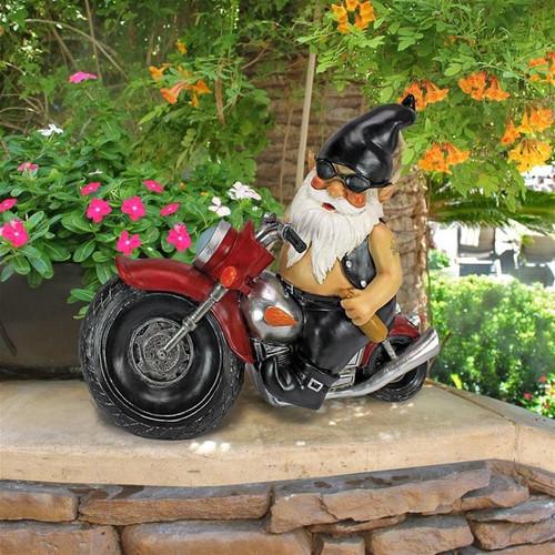 Axle Grease Biker Gnome Statue in the Garden
