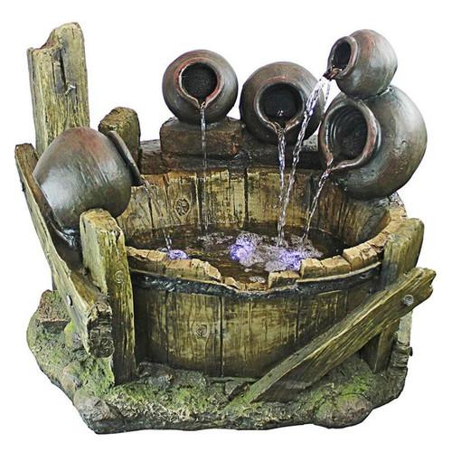 Urns and Barrel Cascading Waterfall Illuminated Garden Fountain