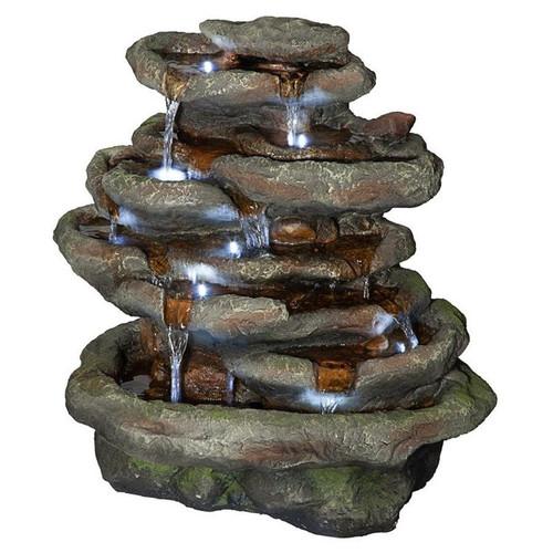 Ribbon Ridge Cascading Waterfall Illuminated Garden Fountain