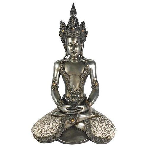 Silver Tibetan Avalokitesvara Buddha Statue