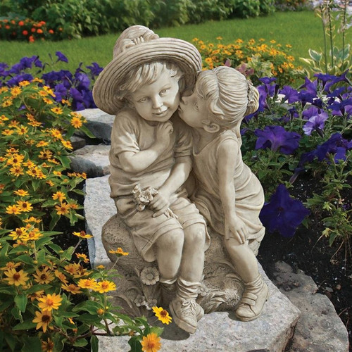 Kissing Kids Boy and Girl Statue in the Garden
