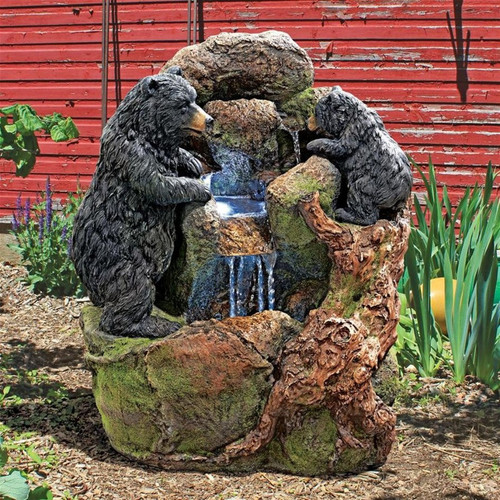 Grizzly Gulch Black Bears Sculptural Water Fountain in the Garden